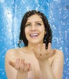 blå dusch Royaltyfri Fotografi