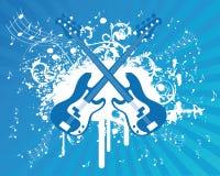 blå e-gitarr Royaltyfri Bild