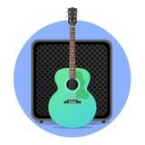 Blå electro akustisk gitarr med ampere Royaltyfria Bilder