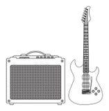 blå elektrisk gitarr Arkivfoto