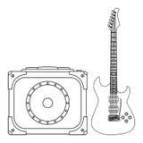 blå elektrisk gitarr Arkivbild