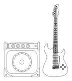 blå elektrisk gitarr Fotografering för Bildbyråer