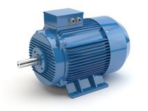 Blå elektrisk motor, illustration 3D stock illustrationer