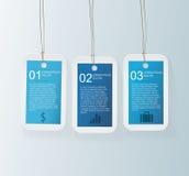 Blå etikett Infographic royaltyfri illustrationer