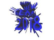 Blå explosion för lyckligt nytt år 2018 Stock Illustrationer