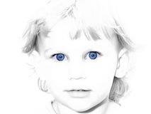 blå färg selektiv synad flicka royaltyfria foton