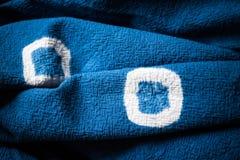 Blå färga tygbakgrund Textilen texturerar Royaltyfri Fotografi