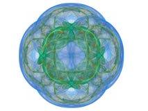 Blå färgrik abstrakt fractal i form av en blom- modell Arkivbild