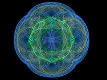 Blå färgrik abstrakt fractal i form av en blom- modell Royaltyfria Bilder