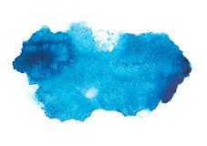 Blå färgrik abstrakt handattraktionakvarell Royaltyfri Bild
