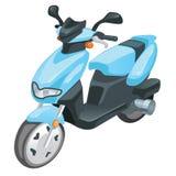 Blå färgsparkcykelmoped som isoleras på vit bakgrund också vektor för coreldrawillustration stock illustrationer