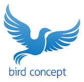 Blå fågel- eller duvadesign stock illustrationer