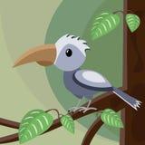 Blå fågel på trädet stock illustrationer
