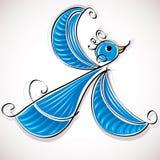 Blå fågelvektorillustration. Royaltyfri Bild