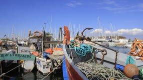 blå fartygfiskesky royaltyfri foto