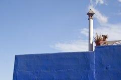 Blå fasad med en hund på terrassen Fotografering för Bildbyråer