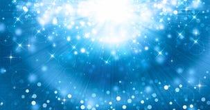 Blå festlig bakgrund med strålar och stjärnor Royaltyfria Bilder