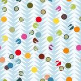Blå fiskbensmönstermodell med färgglade prickar royaltyfri illustrationer