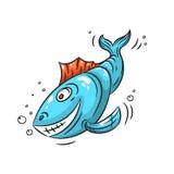 Blå fiskillustration Royaltyfri Bild