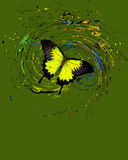 Blå fjäril med färgstänk och virvlar Royaltyfri Fotografi