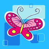 blå fjärilsillustration Arkivbilder