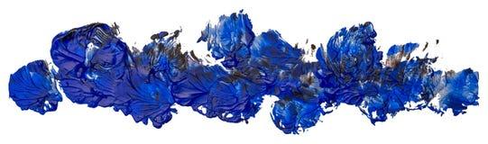 Blå fläckolja målar härlig textur, bildade en lång remsa stock illustrationer