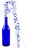 Blå flaska med bubblor som isoleras på vit bakgrund Royaltyfri Foto