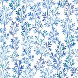Blå flora för vattenfärg Arkivfoto