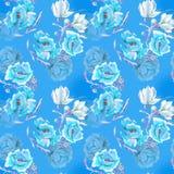 Blå flowersonblåttbakgrund Royaltyfri Foto
