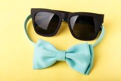 Blå fluga och solglasögon Royaltyfri Foto