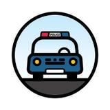 Blå främre sikt för polisbil Royaltyfri Bild