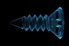 blå framförd röntgenstråle för skruv 3d Arkivfoto