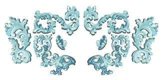 Blå frostvirvel för vektor med skugga och mång- färgtextur royaltyfri illustrationer