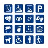 Blå fyrkantuppsättning av handikappsymboler Rörelsehindrad symbolsuppsättning stock illustrationer