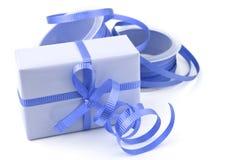 Blå gåva arkivfoto