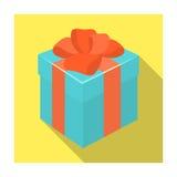 Blå gåva för en ferie med en gul pilbåge Enkel symbol för gåvor och för certifikat i plant materiel för stilvektorsymbol vektor illustrationer