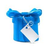 Blå gåva med en pilbåge. royaltyfri foto