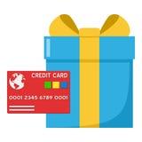 Blå gåva & röd kreditkortsymbol på vit Royaltyfri Bild