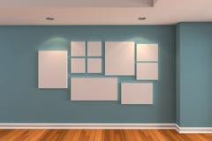 blå galleribildvägg Arkivbild
