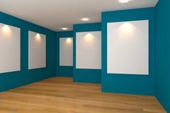 blå gallerilokal Arkivfoto