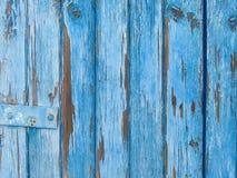 Blå gammal träbakgrund Fotografering för Bildbyråer