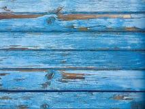 Blå gammal träbakgrund Royaltyfria Bilder