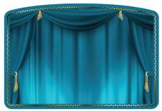 blå gardin Royaltyfria Bilder