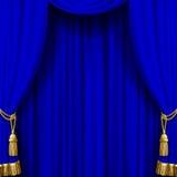 Blå gardin med guld- tofsar Royaltyfria Bilder