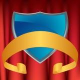 blå gardinsköld Royaltyfri Foto