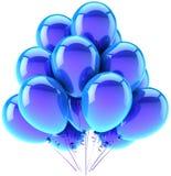 Blå garnering för heliumballongparti royaltyfri illustrationer