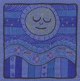 blå garneringmoon Arkivfoton