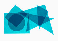 Blå geometri - pappers- geometriska former på vit bakgrund Arkivfoton