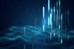 Blå geometrisk bakgrund för formabstrakt begreppteknologi Fotografering för Bildbyråer