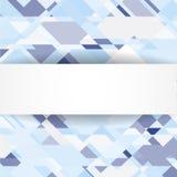 Blå geometrisk bakgrund med det vita banret Vektor Illustrationer